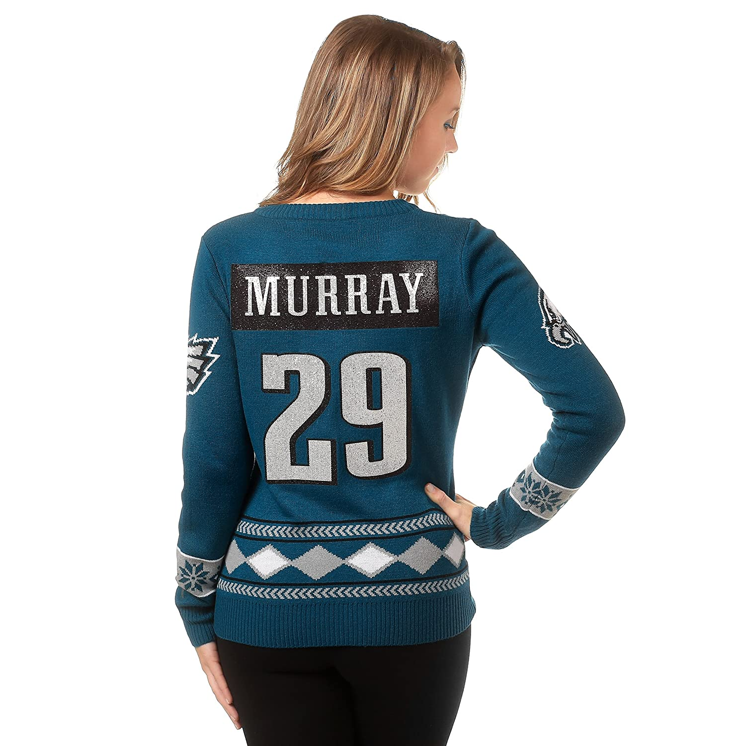 71b56992 Klew NFL Football Womens Big Logo V-Neck Glitter Player Jersey Sweater -  Pick Team