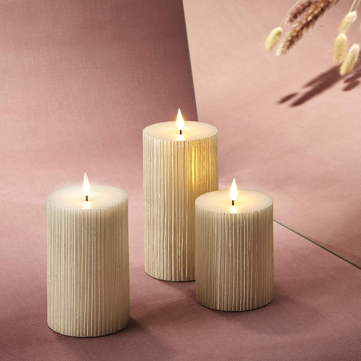 3d Flickering Flameless Candle Set 3 Diameter Pillar Candles Battery Operated Shimmering Gold Pearl Wax Realistic Wick And Flame Easter Mother S Day Remote Control Timer Included Set Of 3