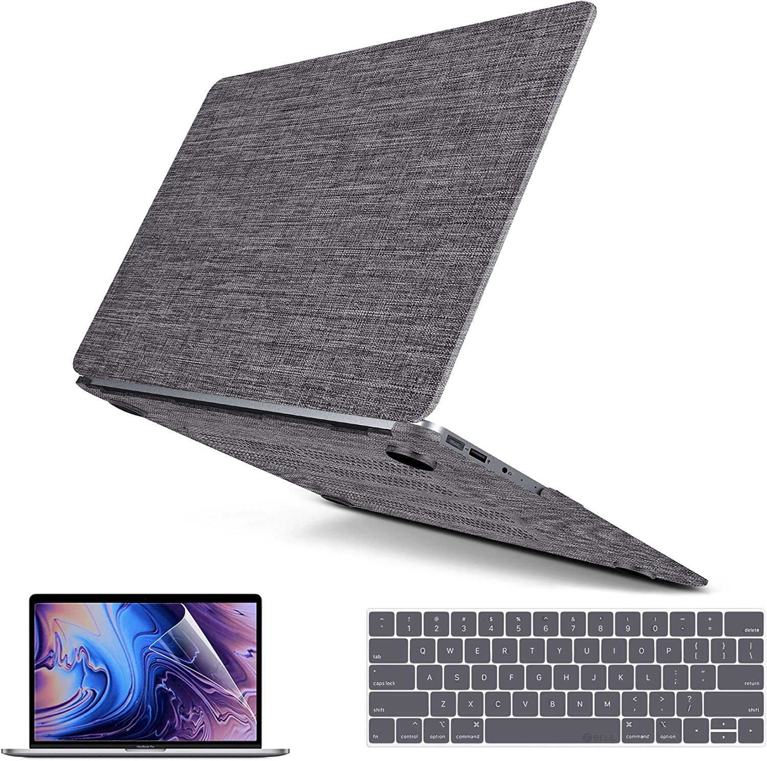 MacBook Pro 16 Inch Case 2019 Release A2141, MacBook Pro 2020 Case Slim Soft Touch Fabric Protective Hard Case Shell Cover with Keyboard Cover & Screen Protector & Touchpad Cover for Apple MacBook 16