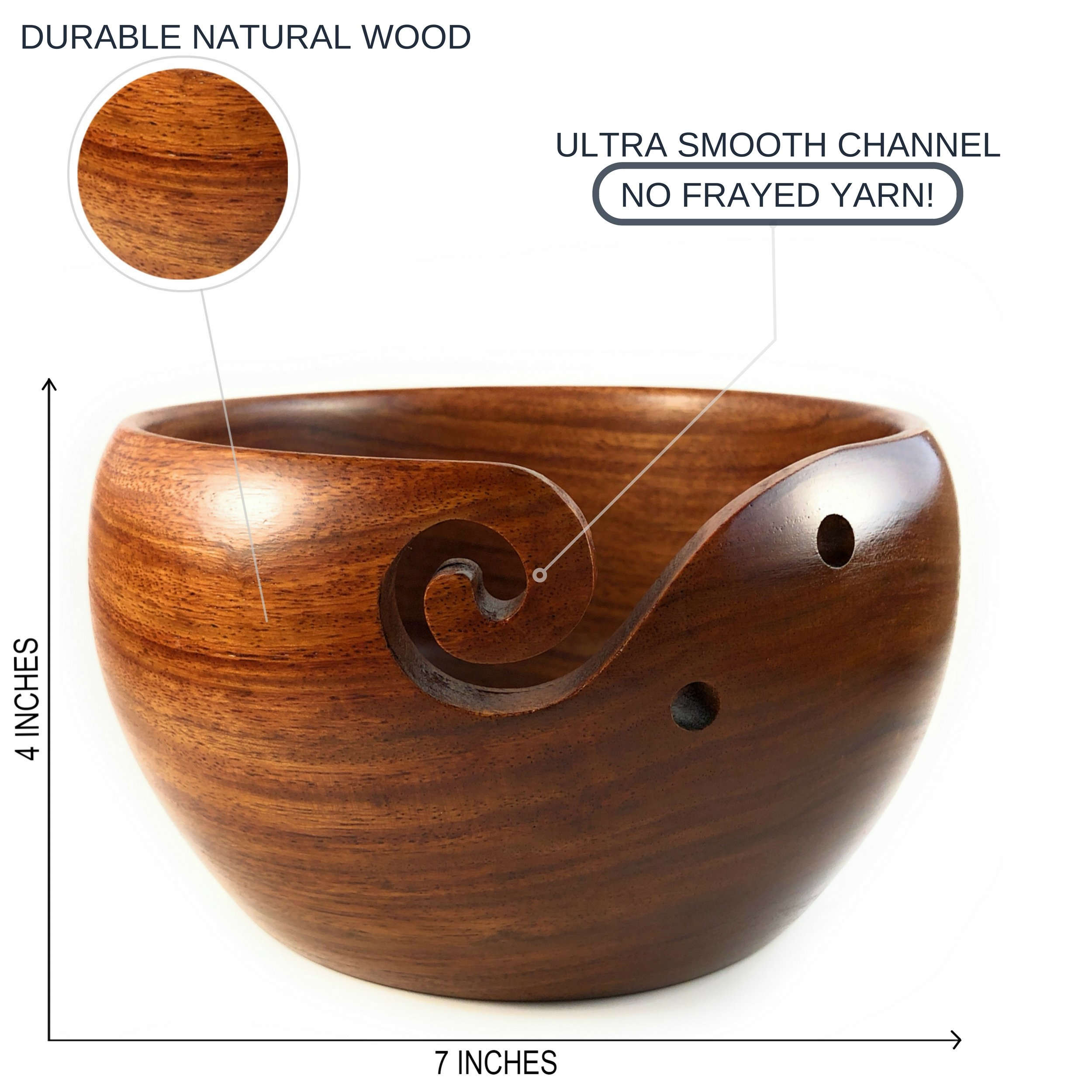 Yarn & Fiber Premium Yarn Bowl | Large 7x4 Inch with Travel Bag | Smooth Handcrafted Rosewood, Stop Yarn From Rolling, Knitting and Crochet Yarn Holder by Yarn & Fiber (Image #6)