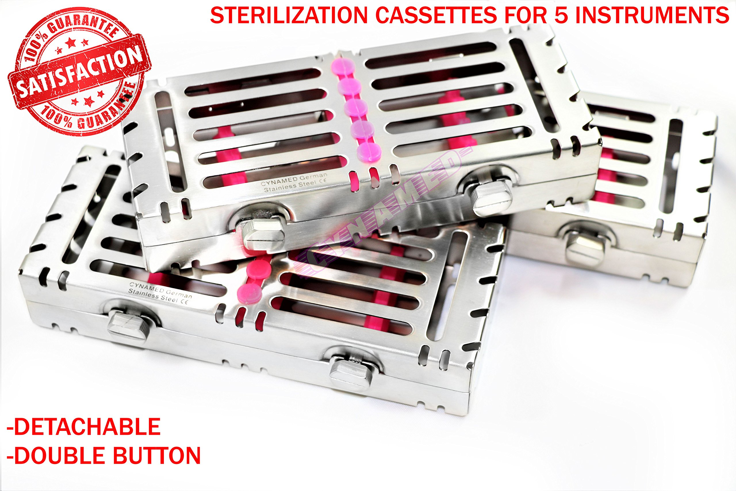 3 German Sterilization Boxes for 5 Instruments with Double Button Detachable CYNAMED