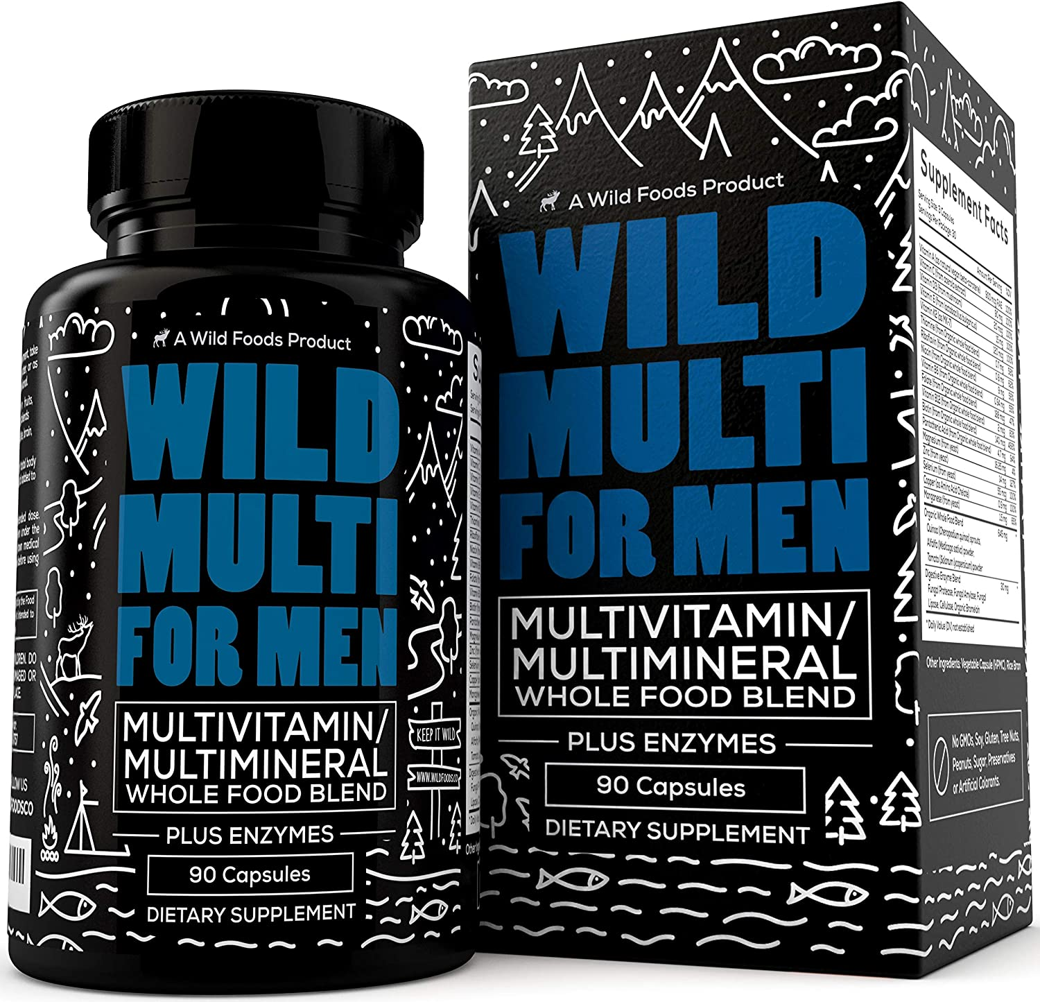 Wild Organic Multivitamin for Men - Daily Whole Food Multivitamin with 20+ Superfood Fruits + Veggies - Essential Vitamins & Minerals for Everyday Health - Non GMO & Gluten Free - 90 Capsules