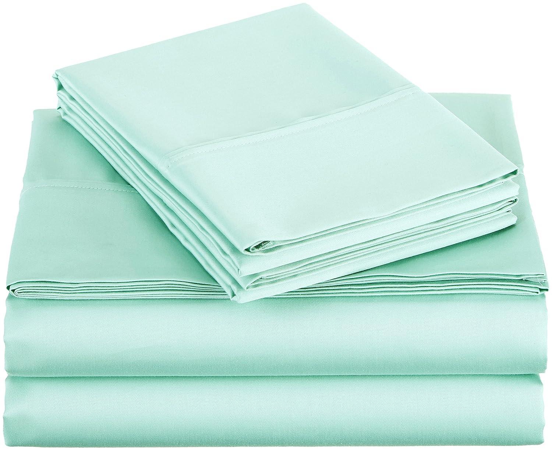 AmazonBasics 400 Thread Count Sheet Set, Queen, Seafoam Green