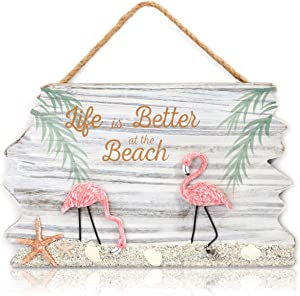 Juvale Flamingo and Life is Better at The Beach Hanging Wall Decoration (14 x 9 Inches)