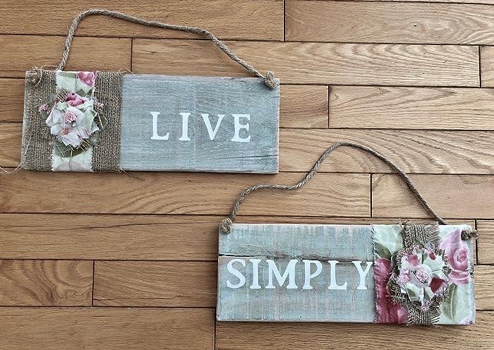 Amazon.com: Shabby Chic Live Simply Wall Decor Signs: Handmade