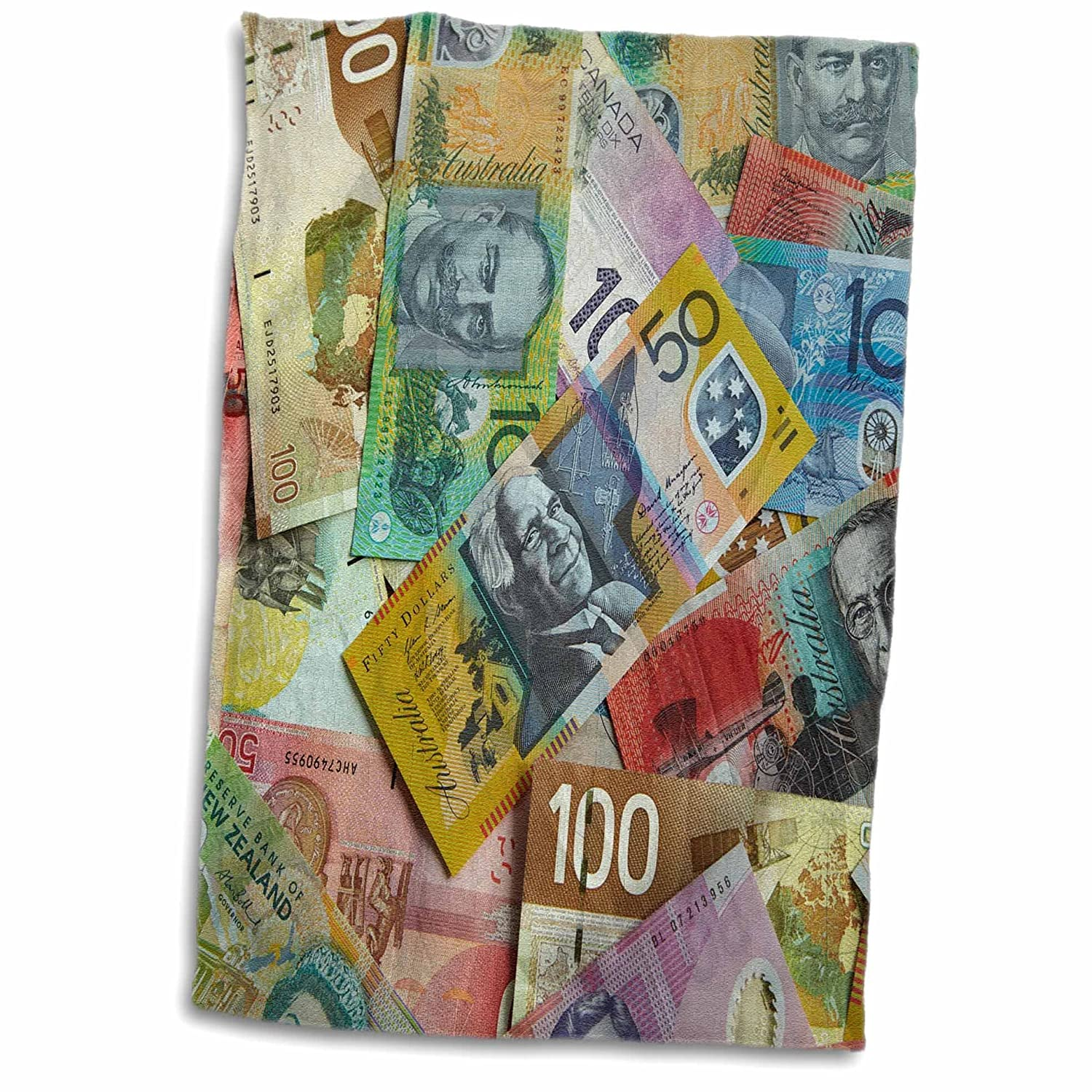 3D Rose Foreign Currency Australian Canadian and New Zealand Dollars TWL/_187883/_1 Towel 15 x 22