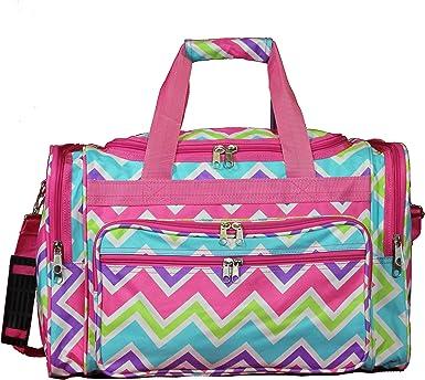 Pink Trim Lightweight Wheeled Duffle Bag Polyester Chevron Pattern