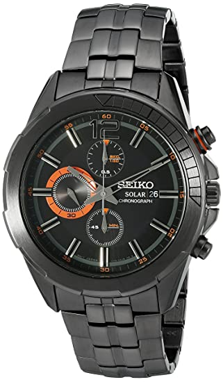 Seiko SSC383 - Reloj japonés con esfera analógica, cromado, solar, movimiento de cuarzo, color negro: Seiko: Amazon.es: Relojes