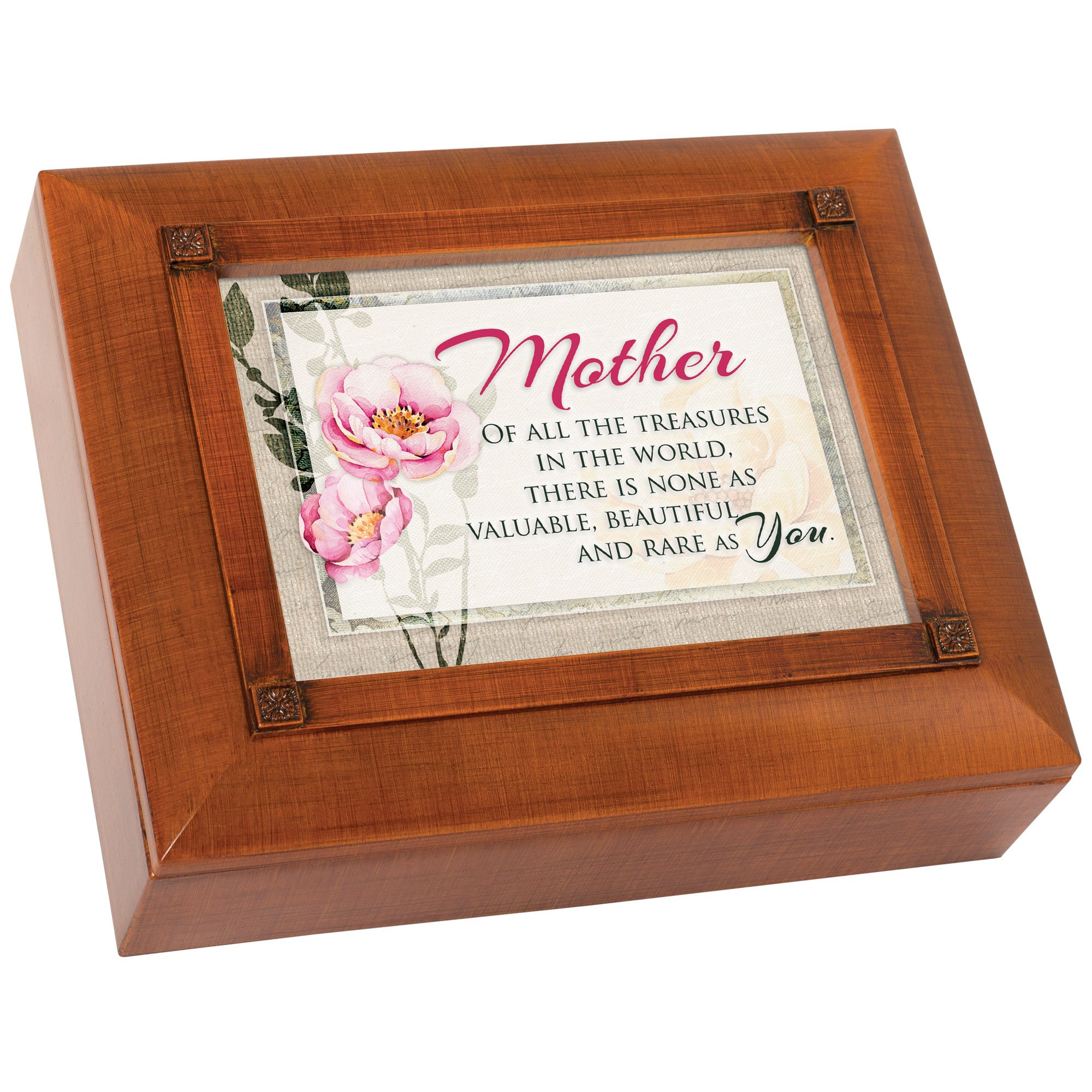 Mother of All Treasures None as Valuable Woodgrain Embossed Tea Storage Jewelry Box by Cottage Garden