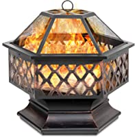 Deals on BCP Hex-Shaped Outdoor Fire Pit w/ Flame-Retardant Lid 24in