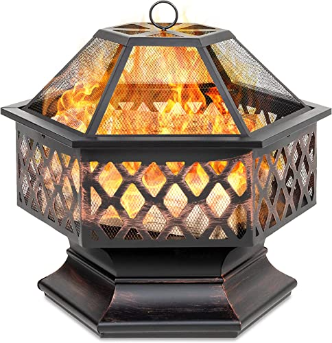 Best Choice Products Hex-Shaped 24in Steel Fire Pit for Garden, Backyard, Poolside w Flame-Retardant Mesh Lid