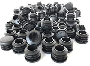 3/4 Inch Round Plastic Plug / 100 Pack/Black Tubing End Cap Plug/Used with 14-20 Gauge Tube Wall Thickness/Durable Chair Glide/Provides Protection on Flooring (100) by EZENDS.