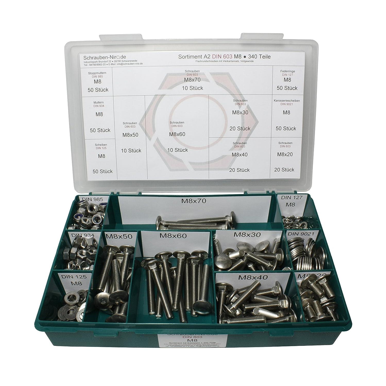 Sortiment M8 DIN 603 Edelstahl A2 - 340 Teile + Muttern - Set mit Schrauben Flachrundschrauben mit Vierkantansatz DIN 125, 127, 9021 Schlossschrauben V2A DIN 934, 985 Scheiben
