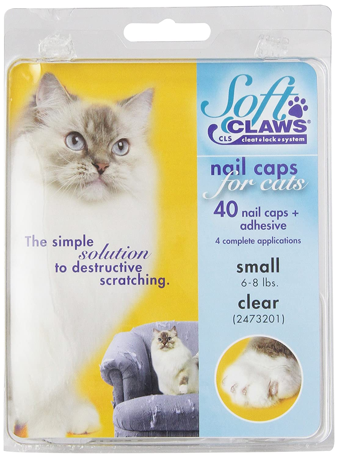 Amazon.com : Feline Soft Claws Cat Nail Caps Take-Home Kit, Small ...