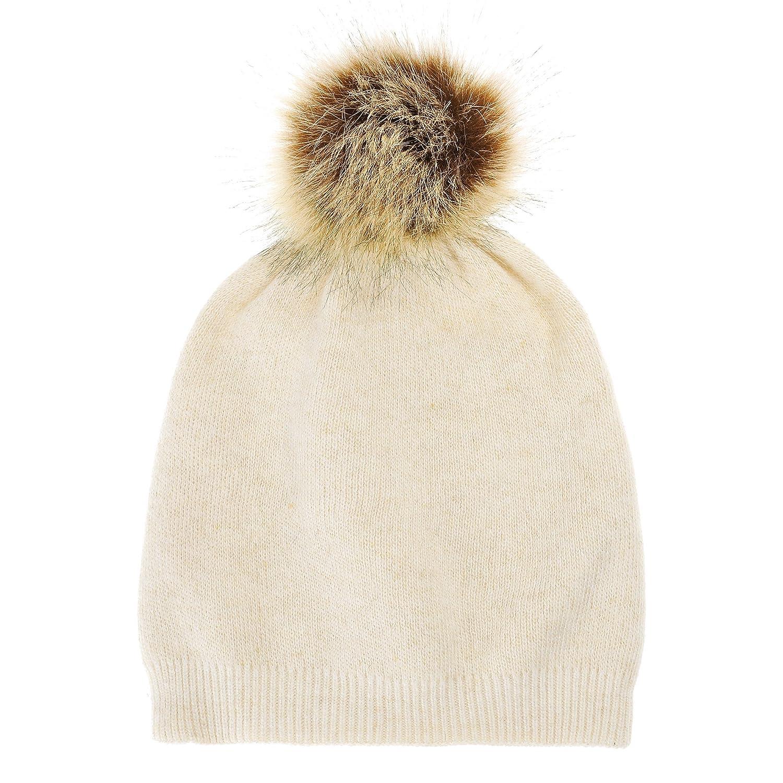 Women's Faux Fur Pom Pom Beanie Hat Winter Hat for Women, Beige ZLYC ZYJ-MZ-137-BG