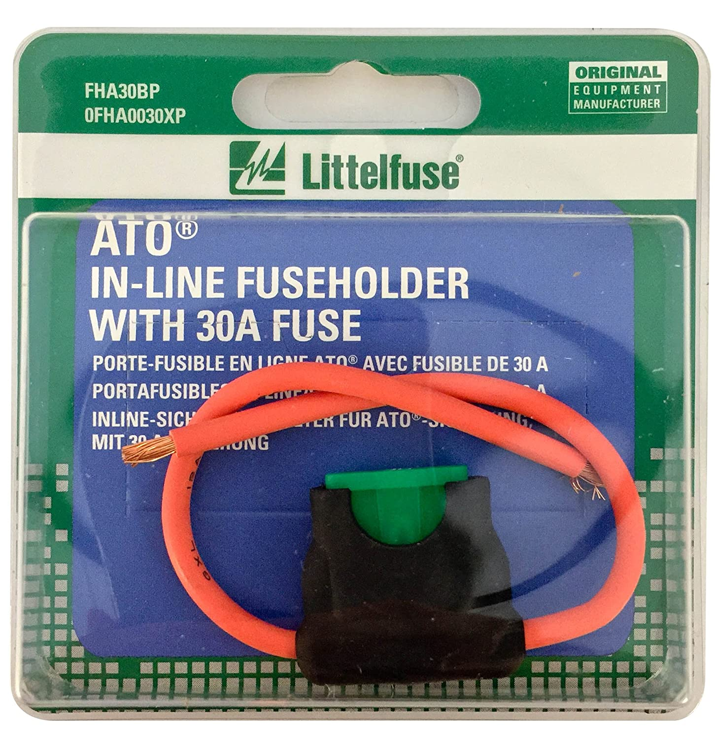 Littelfuse 0fha0030xp Acs Ato Hd Carded Inline Fuse Box Holder With 30 Amp Automotive