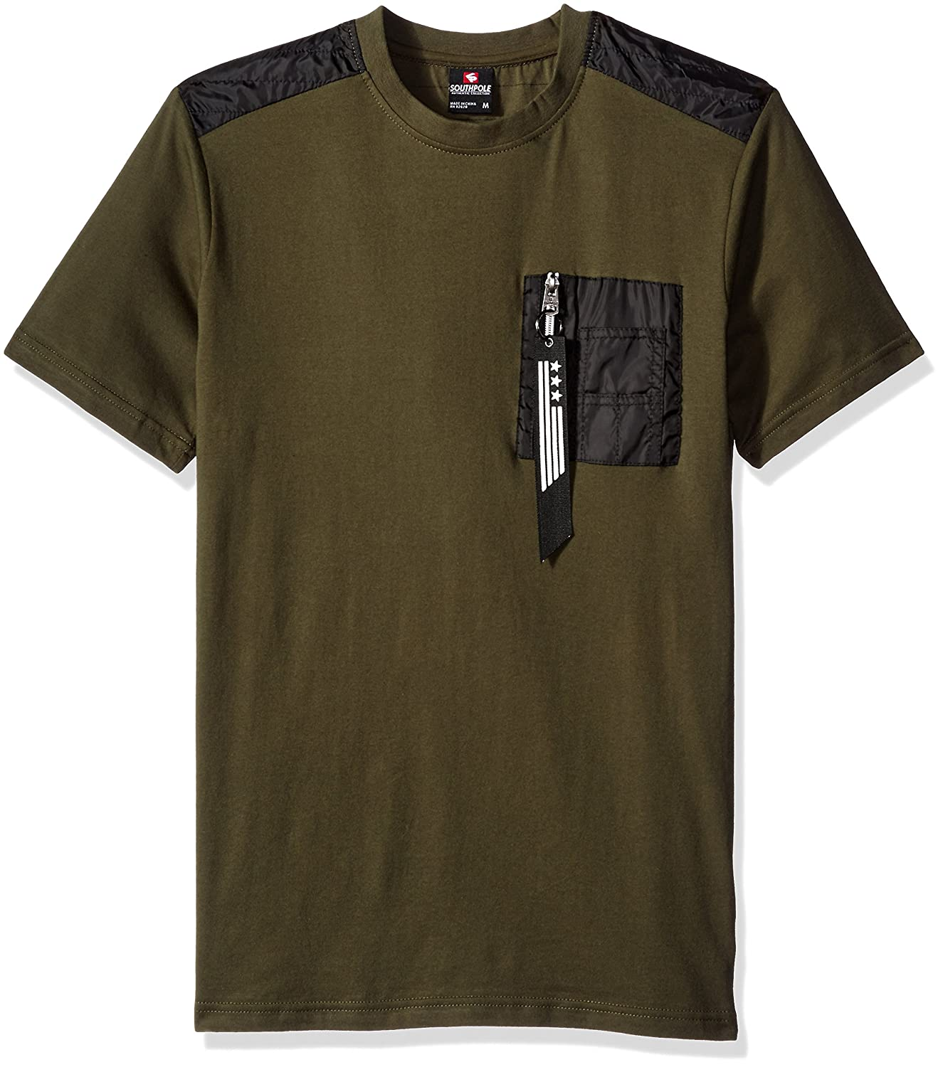 Southpole Men's Short Sleeve Tee with Nylon Utility Details on Shoulders and Zippered Chest Pocket
