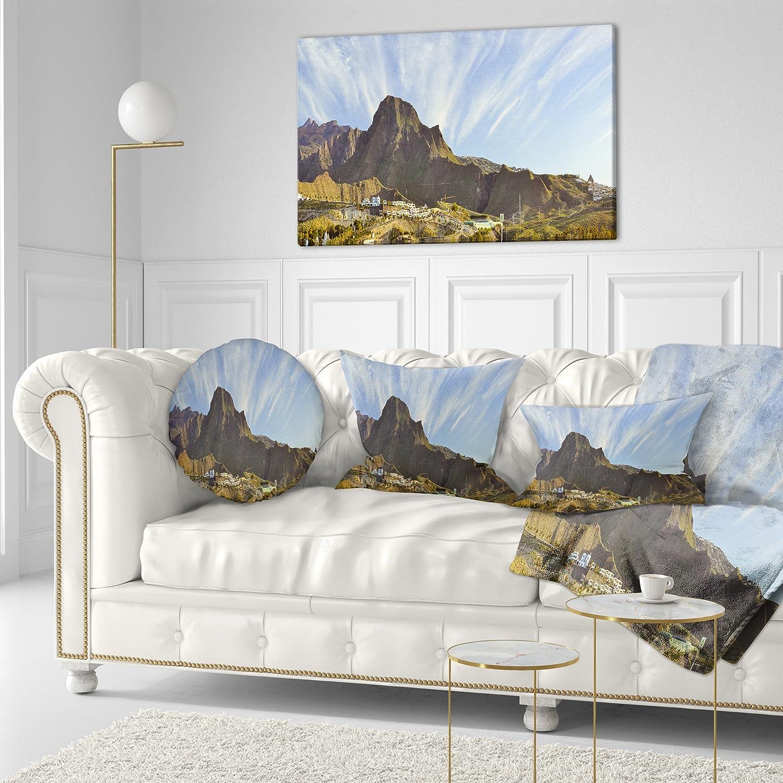 Sofa Throw Pillow 16 Insert Side Designart CU7366-16-16-C Sunrise Over EI Teide National Park Landscape Printed Round Cushion Cover for Living Room