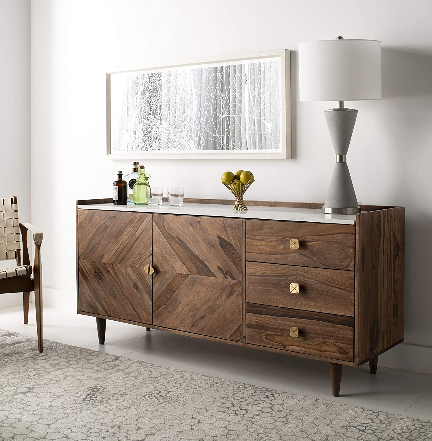 Safavieh Couture Home Cora Modern Natural Acacia and White Marble Sideboard