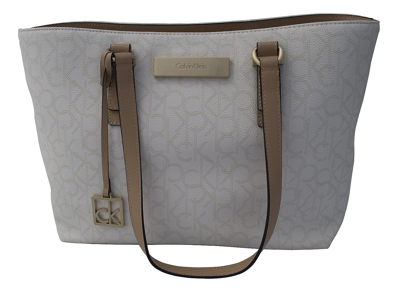 1b3ab63e857 Calvin Klein Womens Jordan Shopper Tote Bag Handbag Eggshell: Handbags:  Amazon.com