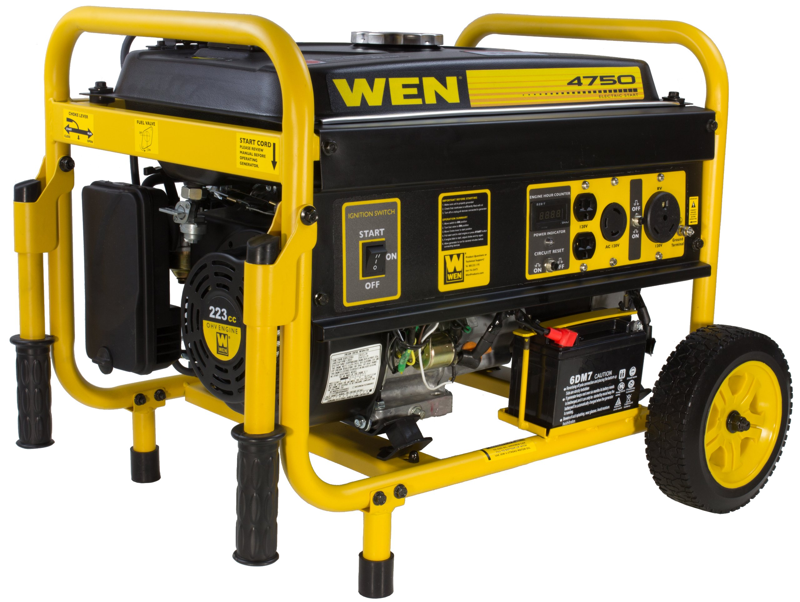 WEN 56475 4750-Watt Gasoline Powered Portable Generator with Electric Start, CARB Compliant by WEN
