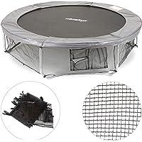 Relaxdays Unisex jeugd, zwart frame net voor tuintrampoline, met 3 opbergvakken, bodemveiligheidsnet voor trampoline Ø…