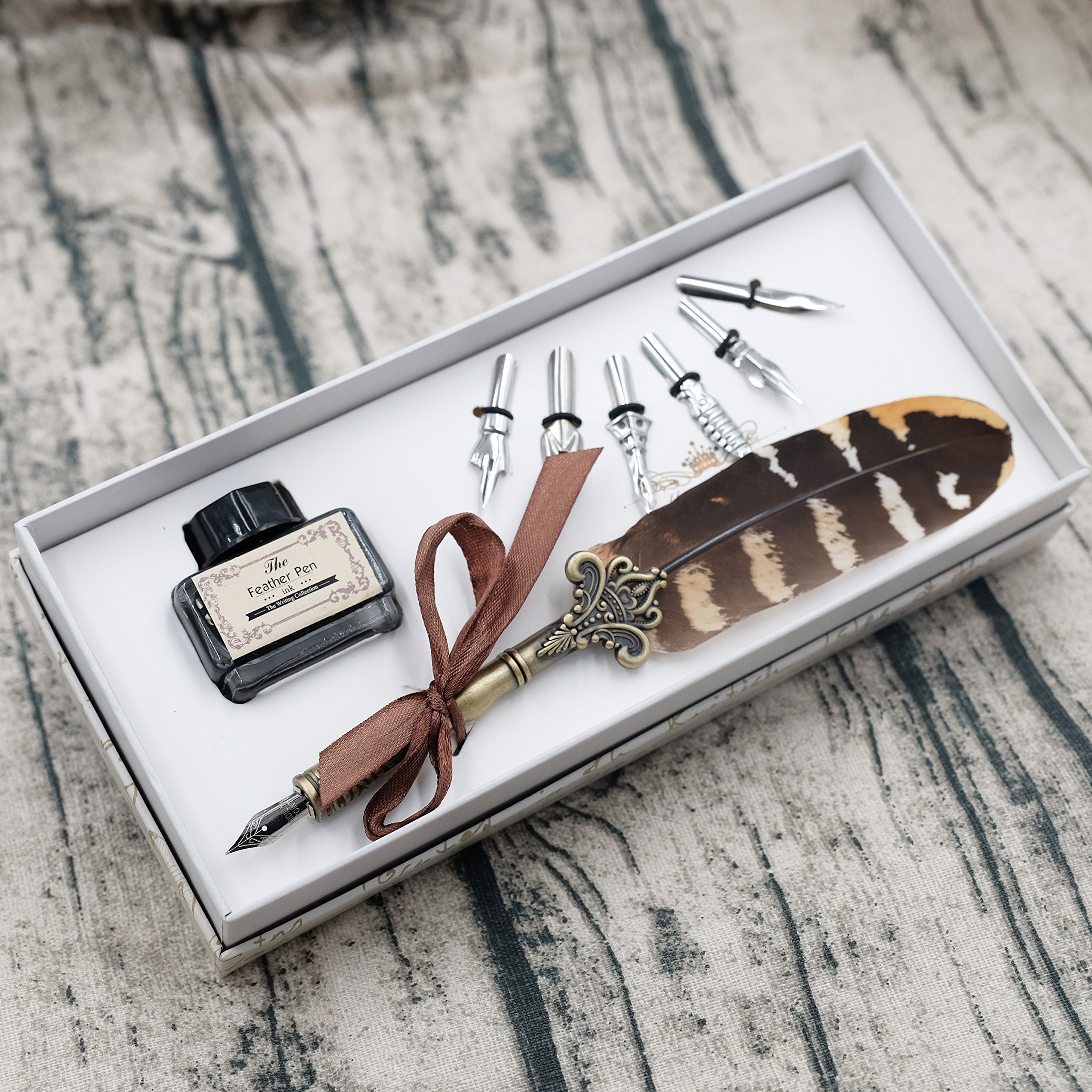Feather Quill Pen Set Dip Pen with Ink and 6pcs Stainless Steel Nibs Calligraphy Pen in Gift Box HO-Q-300 by HOHUHU (Image #2)
