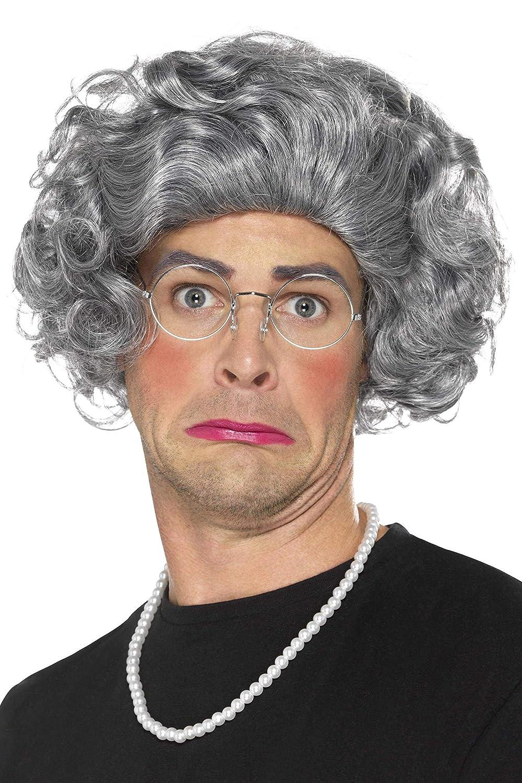 Taglia Unica Occhiali e Collana di Perle Adulti 44632 Grigio con Parrucca SMIFFYS- Kit Nonna