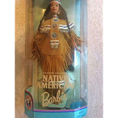 Barbie 1997 Collector Edition Dolls of the World 12 Inch Doll - Fourth Edition Native American Barbie with Poncho, Skirt, Headband, Moccasins, Jewelry, Hairbrush and Doll Stand: Toys & Games