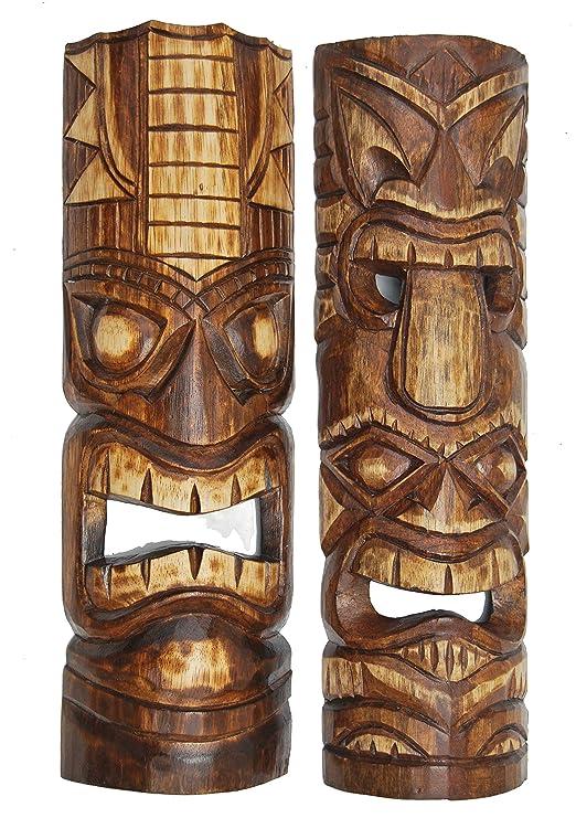 2 máscaras de pared Hawaii Tiki de estilo 50 cm de madera ...