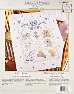 Bucilla Stamped Cross Stitch Crib Cover Kit, 34 by 43-Inch, 40787 Babies are Precious