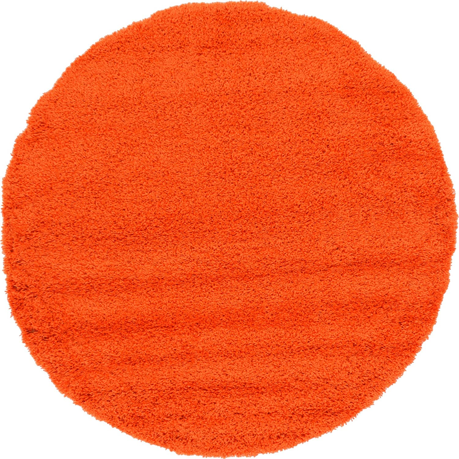 A2Z Rug Cozy Shaggy Collection 6-Feet Round Solid Area Rug - Tiger Orange