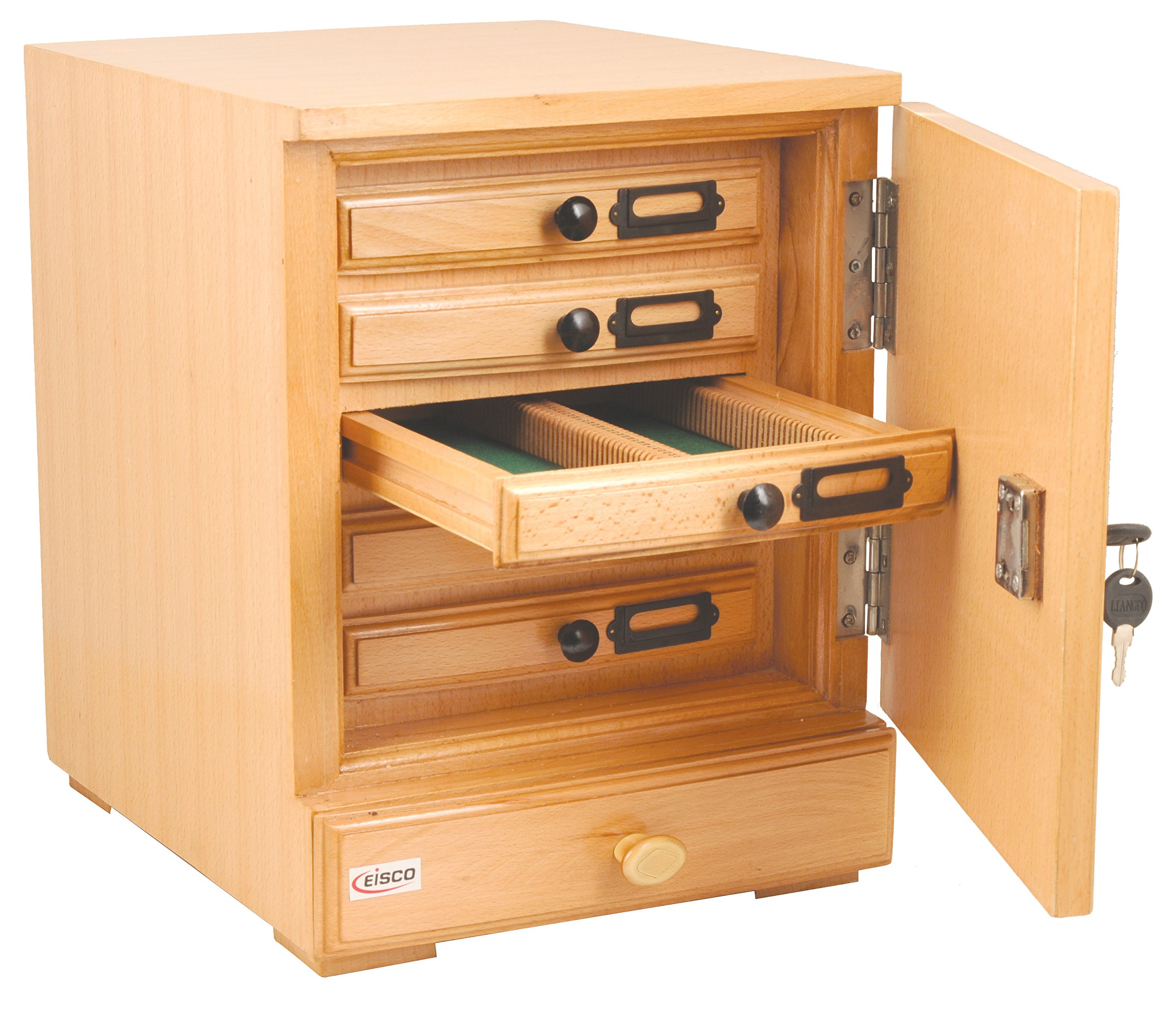 Eisco BI0123A Wooden Slide Cabinet, 5 Drawers, 500 Slide Capacity Total