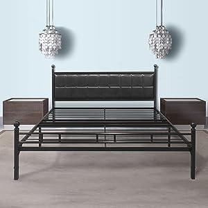 Best Price Mattress Model H-Plus Easy Set-up Steel Platform Bed Frame, Twin X-Large, Black