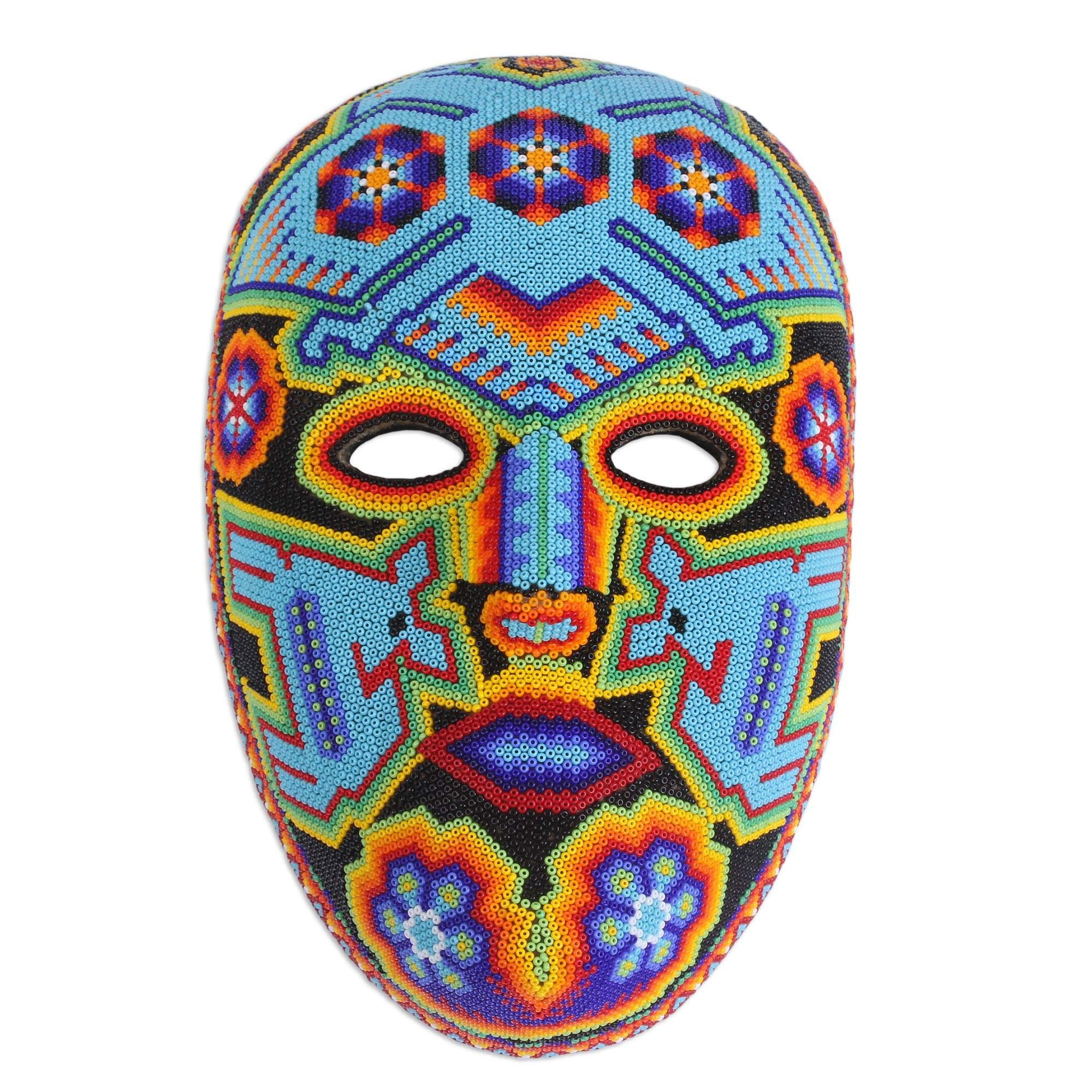 NOVICA 37718'' Blue Eagle Beadwork Mask