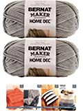 Bernat Maker Home Dec Corded Yarn Bundle 2 Skeins with 4 Patterns 8.8 Ounce Each Skein (Clay)