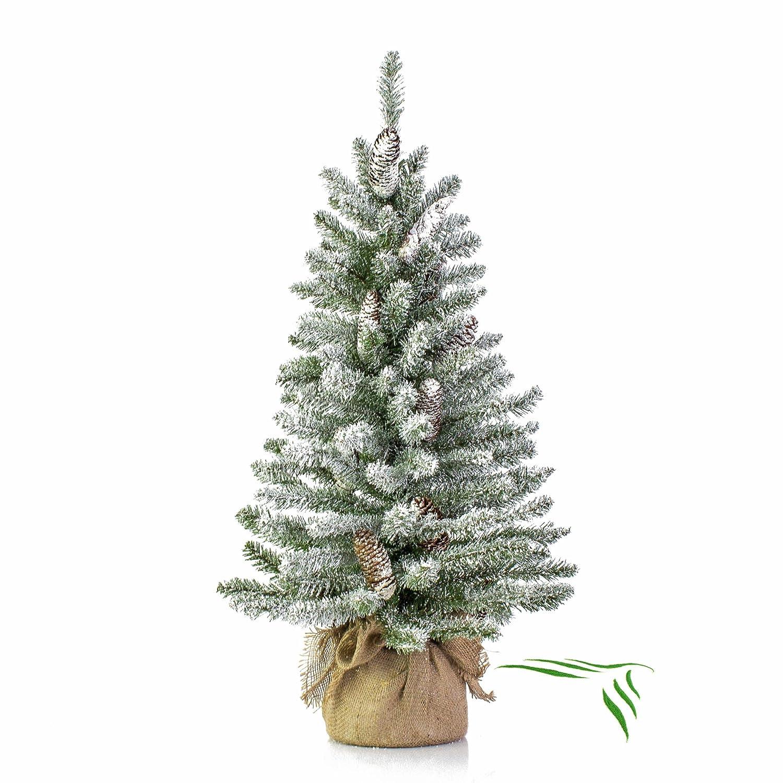 Mini albero di Natale VIENNA in sacco di iuta, innevato, 90 cm, Ø 50 cm - Abete artificiale / Albero tessile - artplants Ø 50 cm - Abete artificiale / Albero tessile - artplants