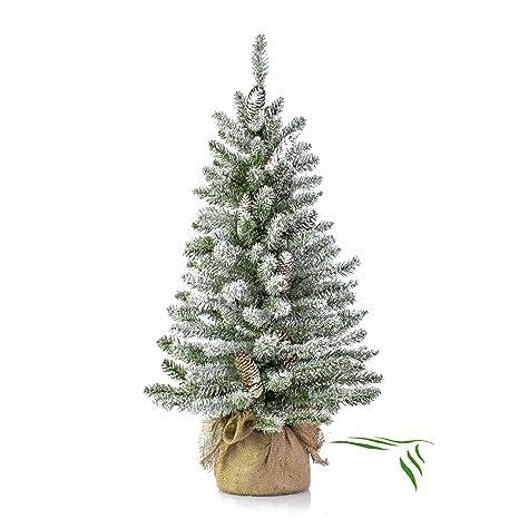 Albero Di Natale Bianco 90 Cm.Mini Albero Di Natale Vienna In Sacco Di Iuta Innevato 90 Cm O 50 Cm Abete Artificiale Albero Tessile Artplants
