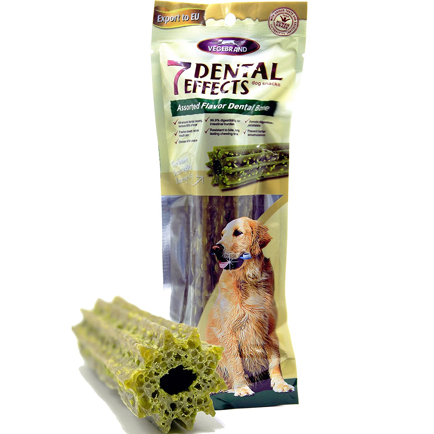 """7 Dental Effects by Vegebrand. Large Dog Chews & Treats , Food for Dog's Teeth Care and Bad Breath Exception . Snacks Consists of 100% Natural and Digestable Ingredients . Not rawhide bone 6.4"""" 3.5 Oz"""