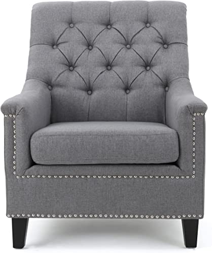 Christopher Knight Home Jaclyn Tufted Fabric Club Chair, Grey