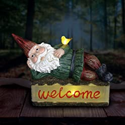 """Exhart Solar Gnome on Welcome Log Garden Statue, Resin, Solar Powered, 16.14"""" L x 6.5"""" W x 14.17"""" H"""