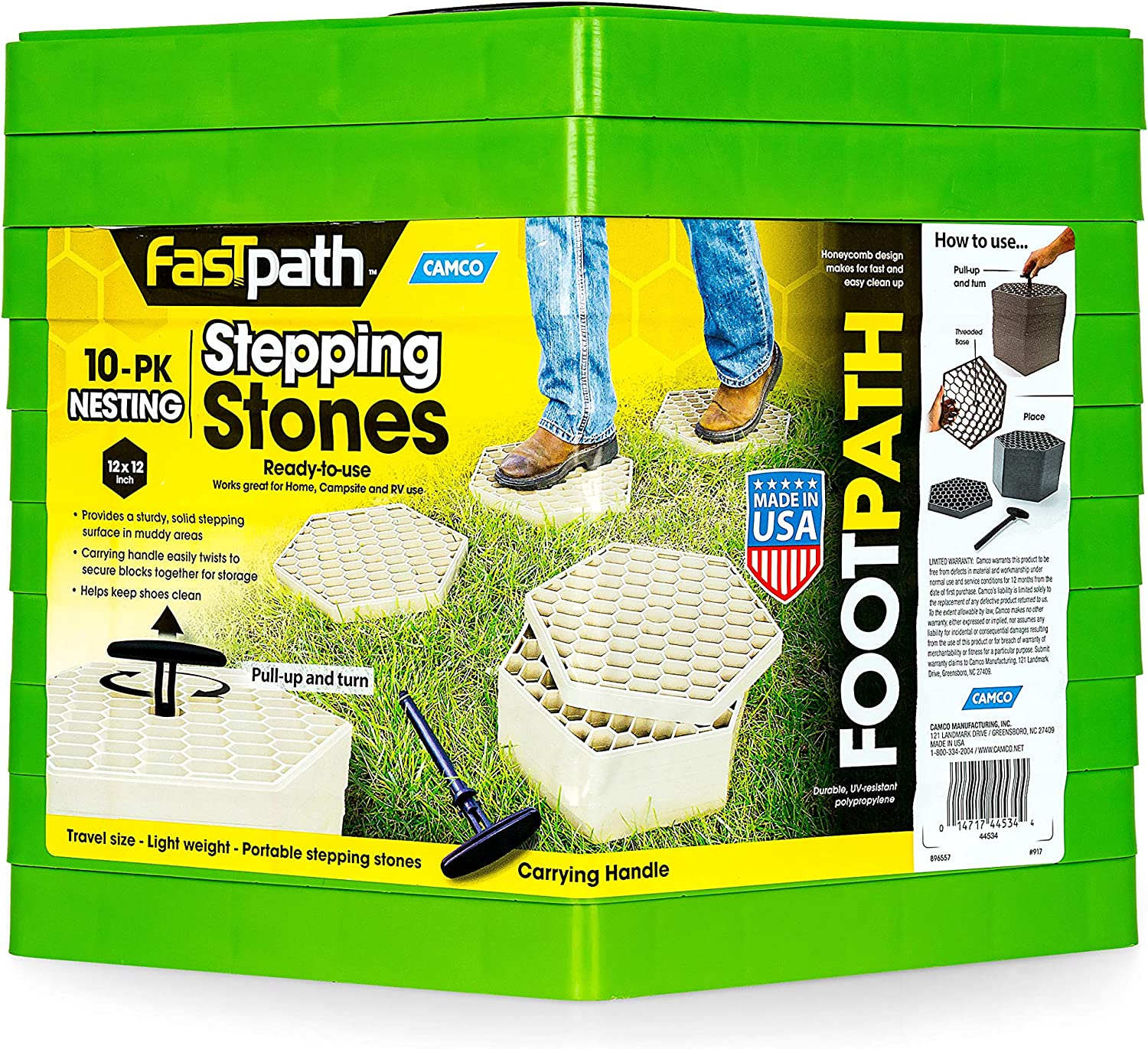 Amazon Com Camco Fastpath Portable Stepping Stones Ideal For Providing A Solid Stepping Surface And Keeping Shoes Clean Green Pack Of 10 44533 Automotive