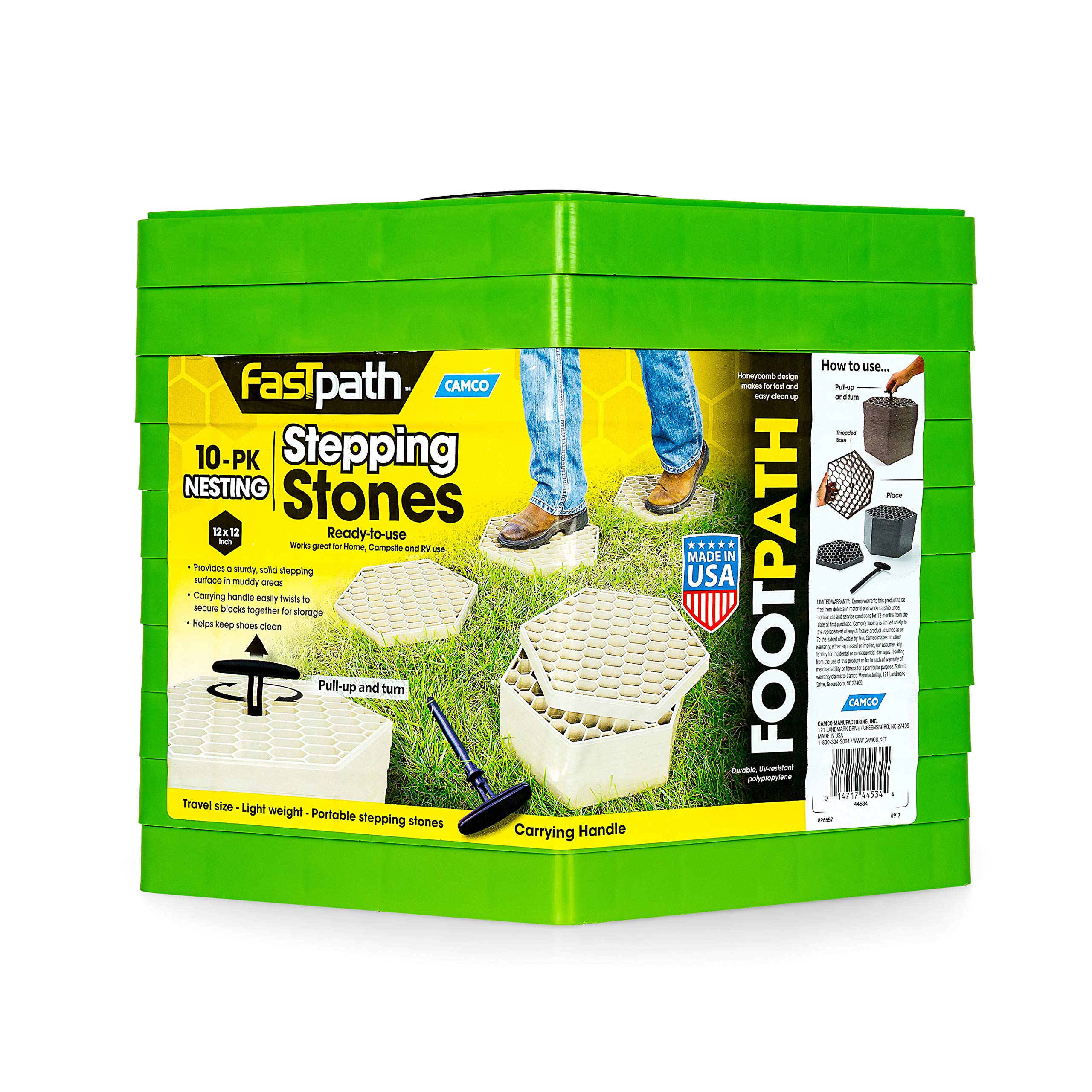 Camco 44533 Fastpath Portable Stones (Ideal for Providing A Solid Stepping Surface and Keeping Shoes Clean, Green) by Camco