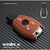 Keyzone Silicone Key Cover For Mercedes 3 button smart key (Brown)
