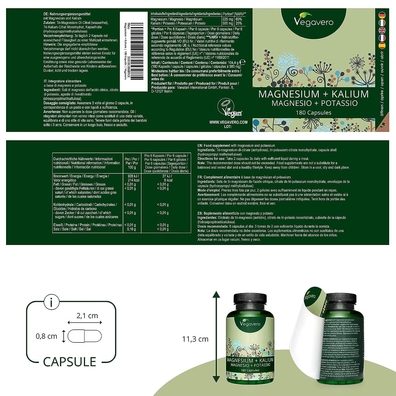 Citrato de Magnesio + Citrato de Potasio Vegavero® | EL ÚNICO SIN ADITIVOS | Testado en Laboratorio | 180 Cápsulas | Relajante Muscular + Calambres + ...