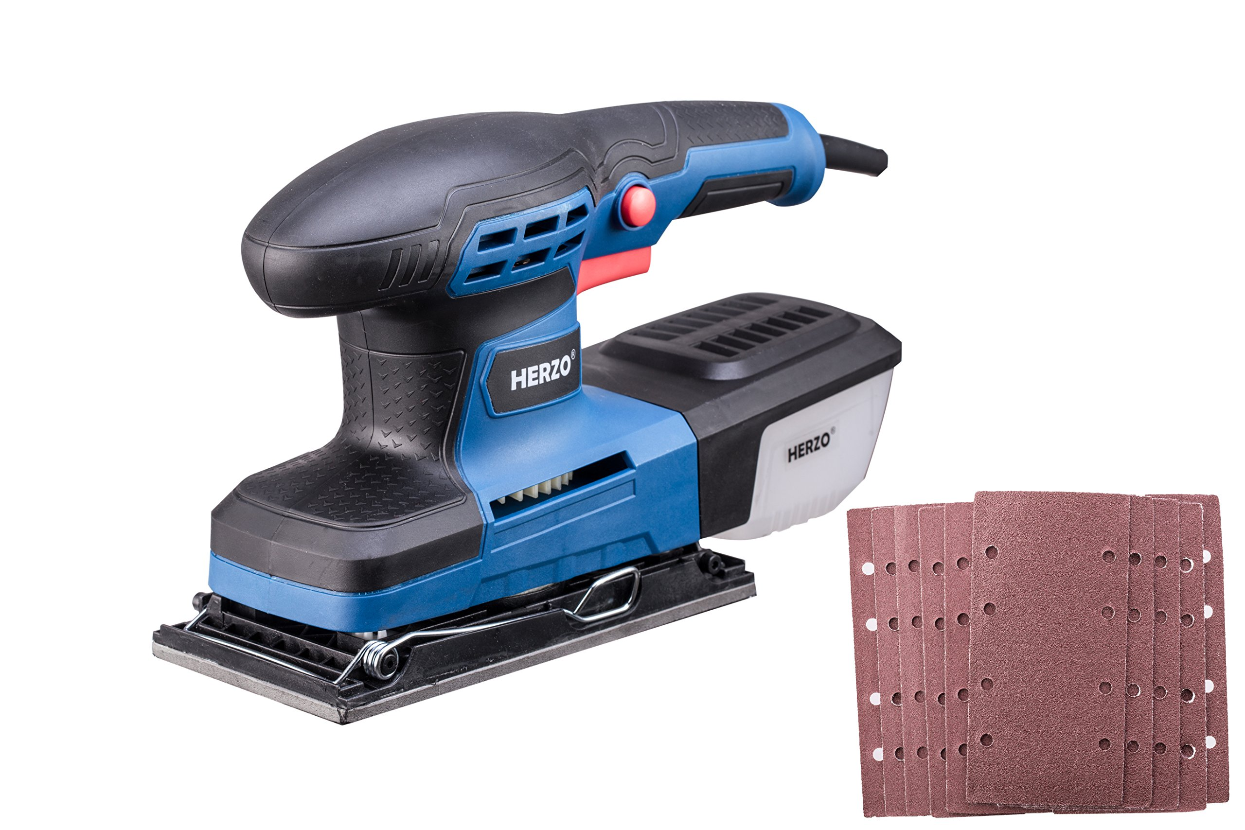 Sheet Sander HERZO 1/3 Finishing Sander with Self-Dust Collection Box, Hook-and-Loop Base Pad and 10 Pcs Sandpaper 2.2A