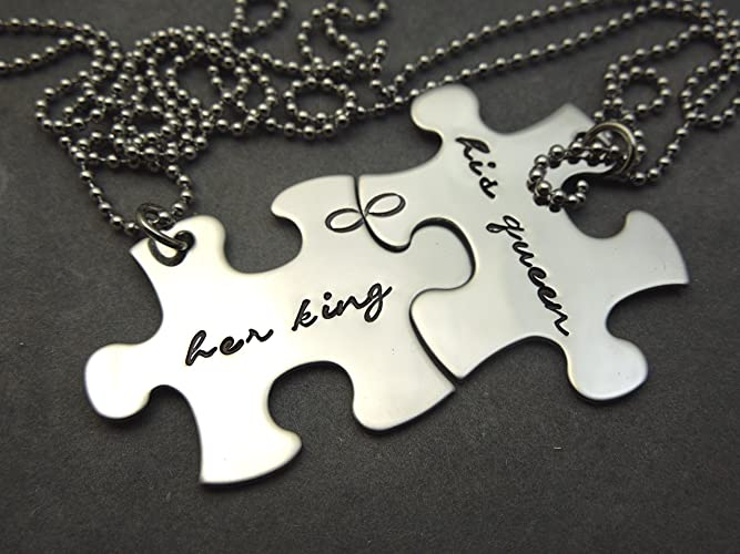 3c9625420b Image Unavailable. Image not available for. Color: Her King, His Queen, personalized  puzzle piece necklaces. Set of 2 couples necklace