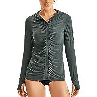 CRZ YOGA Women's UPF Swimsuit Cover Ups for Women Zip Front Long Sleeve Swim Hoodie