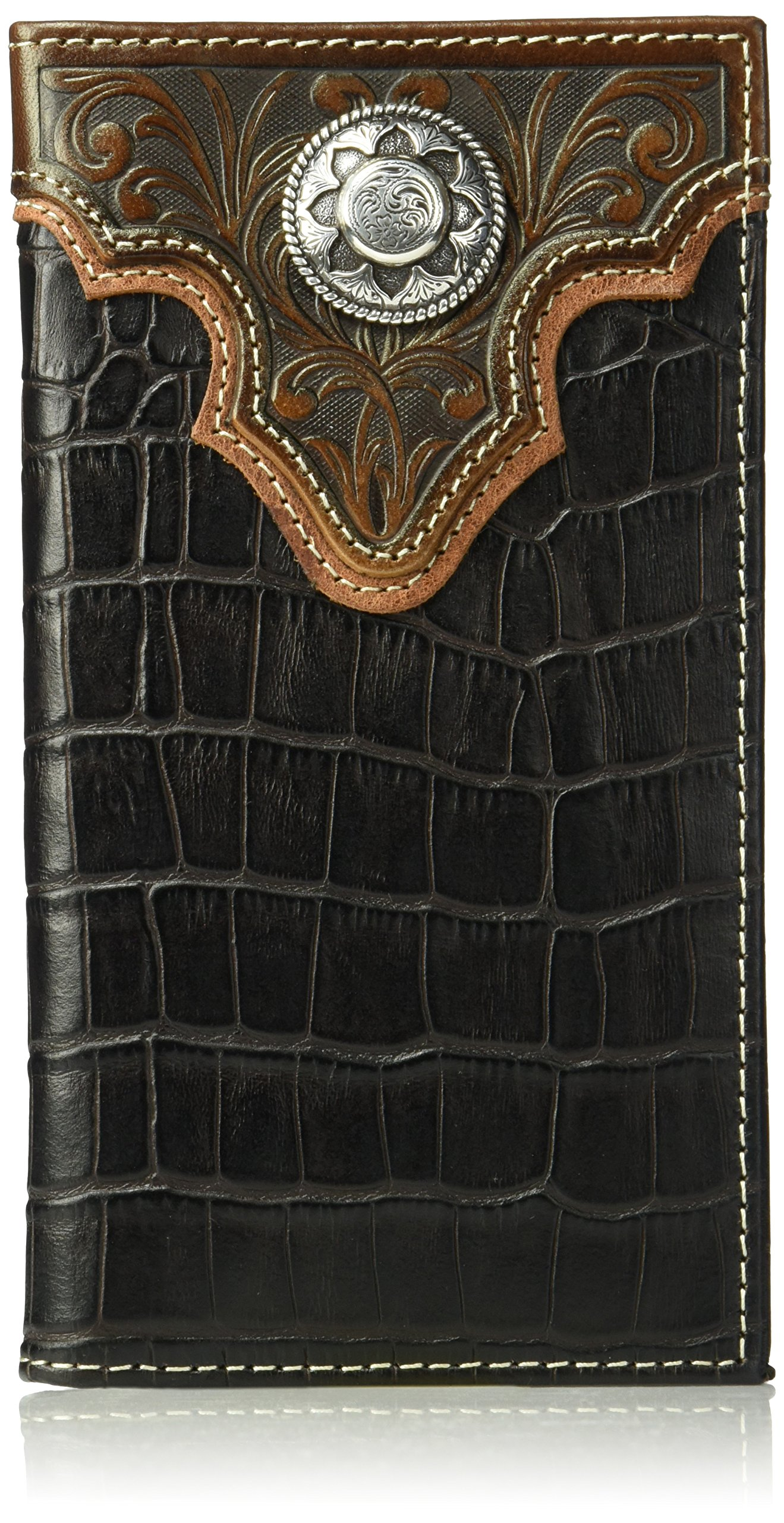 Nocona Men's Caiman Floral Over Circle Rodeo Wallet, Brown, One Size