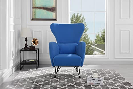Wondrous Mid Century Modern Velvet Accent Armchair With Shelter Style Living Room Chair Blue Bralicious Painted Fabric Chair Ideas Braliciousco